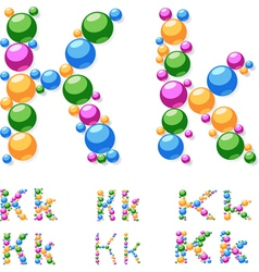 Alphabet symbols of colorful bubbles or balls vector