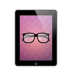 Glasses on the screen vector