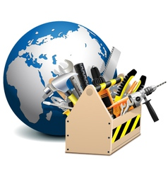 Toolbox with globe vector