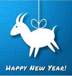 Goat on bright blue canvas background vector