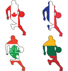 basketball colors of Canada France Lebanon Lithuan vector image