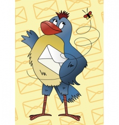 Blue bird with an envelope vector