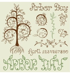 Arbor day set of hand drawn design elements vector