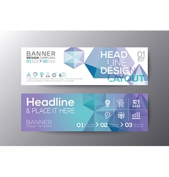 banners template with abstract polygon background vector image