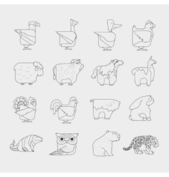 Line design animals icon set zoo children vector