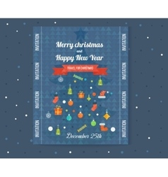 Merry christmas greeting card design flyer vector