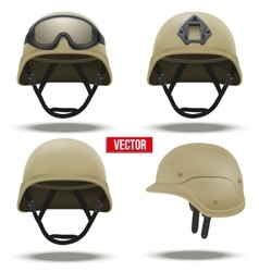 Set of military tactical helmets desert color vector