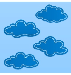 Set of cloud textile tags blue sky clouds with vector