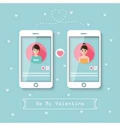 online dating via social network vector image