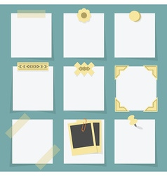 Small little attached blank paper notes set vector