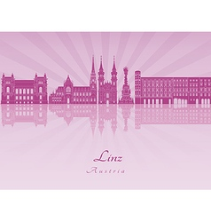 Linz skyline in purple radiant orchid vector