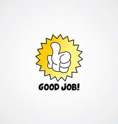 Good job thumb up cartoon gesture hand sign vector