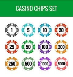 Casino chips set color poker chips with numbers vector