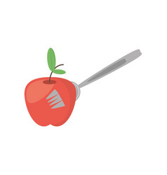 Apple fruit fork food picnic vector