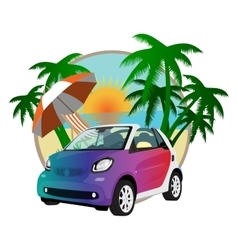 beach car in the summer on a background of sunset vector image