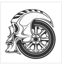 Biker skull - racing symbol vector image vector image