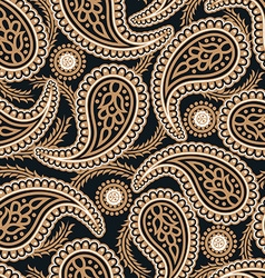 Brown and navy paisley seamless pattern vector