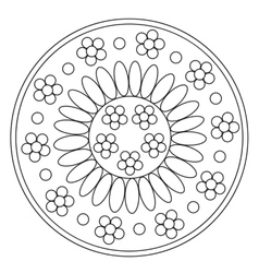 Coloring simple chamomile mandala vector