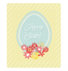 Cute Easter Egg and flowers card vector image vector image