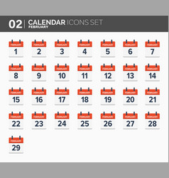february calendar icons set date and time 2018 vector image