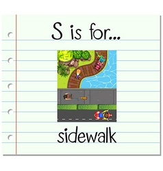 Flashcard letter s is for sidewalk vector