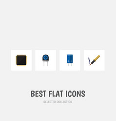 Flat icon appliance set of transducer cpu repair vector