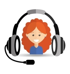 girl curly hair headphones for support vector image