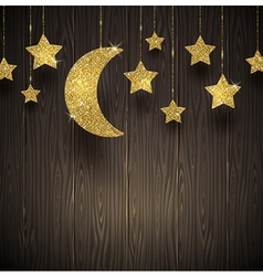 Glitter gold stars and moon on a wooden texture vector image vector image