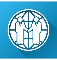 Global partnership gradient square icon vector