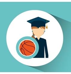 Graduate student girl sport ball vector