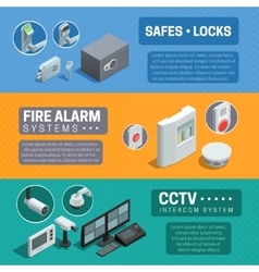 Home security system isometric banners set vector