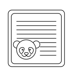 Monochrome card with male panda head vector