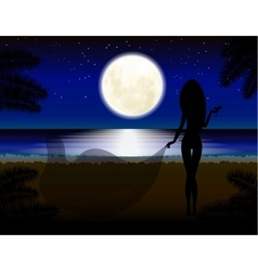Moon girl with glass beach vacation night vector