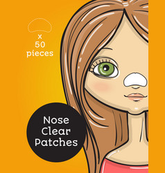 Nose clear patches package design cartoon beauty vector