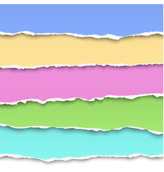 Oblong layers of torn pastel color paper vector