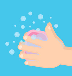 pair of hands washing using soap vector image