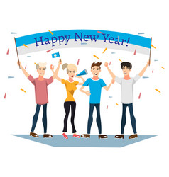 people celebrating new year with banner vector image