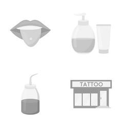 Piercing in tongue gel sallon tattoo set vector