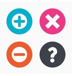 Plus and minus icons question faq symbol vector