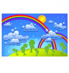 rainbow landscape vector image