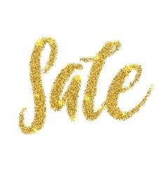Sale golden glitter text poster language gold vector