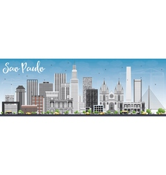 Sao paulo skyline with gray buildings vector