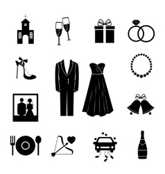 Set of black silhouette wedding icons vector image vector image