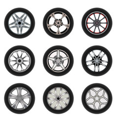 set of car wheels with a different design vector image vector image