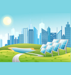 solar power panels with sun vector image
