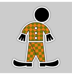 sticker - fall green and orange figure vector image vector image
