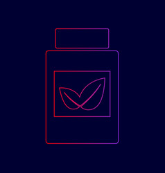 Supplements container sign line icon with vector