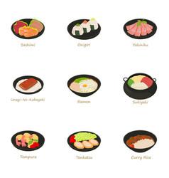 Sushi menu icons set cartoon style vector