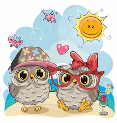 two owls on the beach vector image vector image