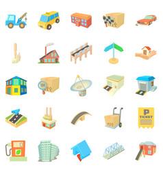 urban elements icons set cartoon style vector image